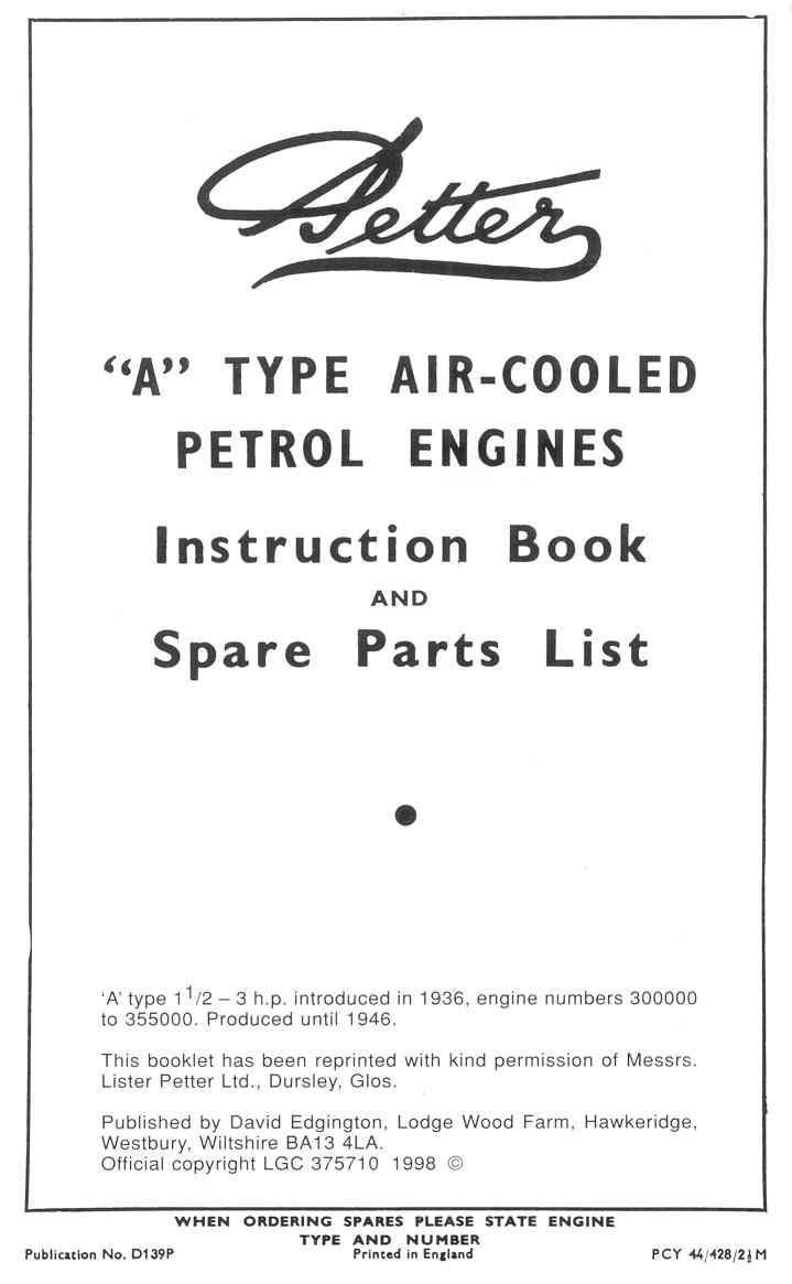 001384 Petter A Instructions/parts 1936-46, ser no. 300,000-355,000, 32  pages, $8.00, 1 copy in stock
